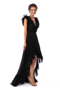 Ana Radu luxurious asymmetrical cloche sleeveless black dress with ruffle details with deep cleavage