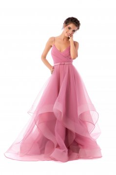 Ana Radu lightpink dress luxurious from tulle asymmetrical long with straps
