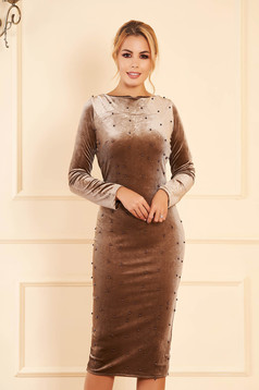 Cappuccino occasional midi from velvet dress with tented cut with small beads embellished details