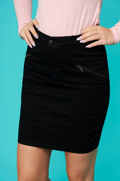 Black skirt casual short cut pencil denim