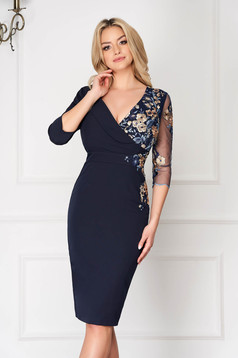 Darkblue occasional pencil dress with v-neckline slightly elastic and laced fabric