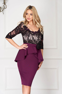 Purple occasional pencil dress cloth and laced fabric with peplum