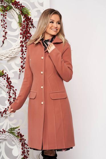 Palton LaDonna roz prafuit office din material gros captusit pe interior cu un croi cambrat