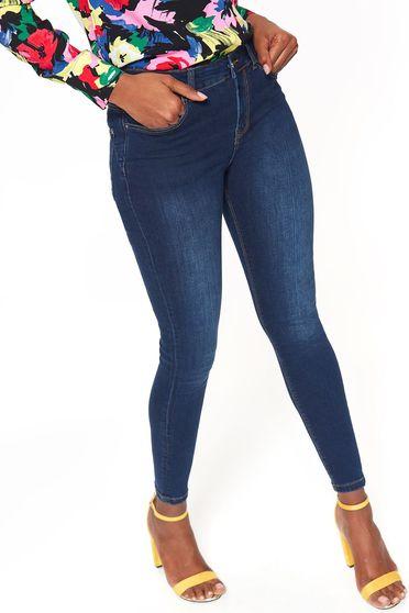 Blugi Top Secret albastru-inchis skinny cu talie medie din bumbac usor elastic