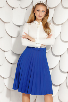Blue skirt office cloche midi folded up accessorized with belt from elastic fabric
