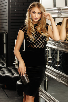 Occasional short cut pencil black dress with short sleeves