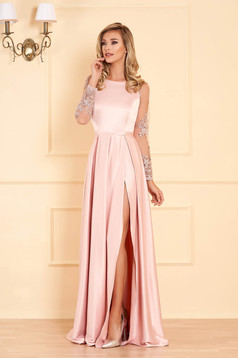 Pink occasional dress flaring cut from satin fabric texture with laced sleeves