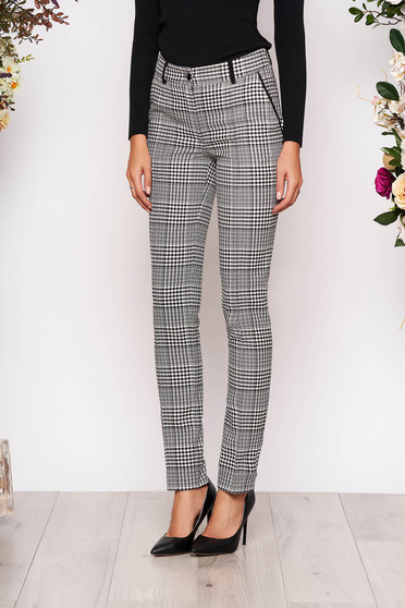 Pantaloni LaDonna gri lungi eleganti office din stofa cu un croi drept si buzunare in fata