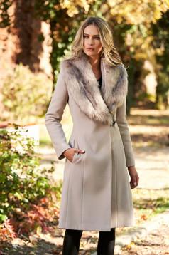 Palton LaDonna crem elegant cu guler din blana captusit pe interior