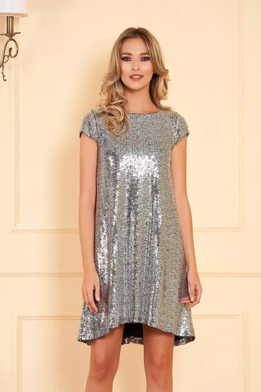 Rochie StarShinerS argintie scurta de ocazie cu croi larg asimetrica cu paiete captusita pe interior
