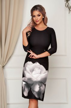 Black elegant midi pencil dress from elastic fabric with rounded cleavage with floral print