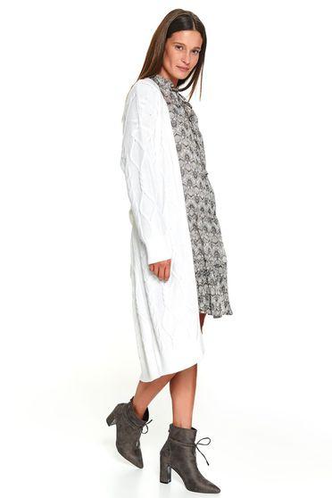 Pulover alb Top Secret casual tricotat tip cardigan cu croi larg cu maneci lungi si cordon detasabil