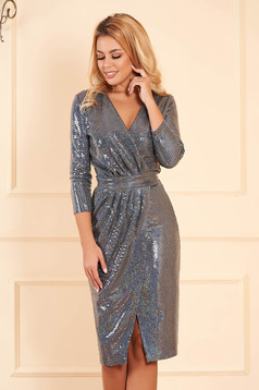 Dress StarShinerS grey occasional with sequins with tented cut wrap around midi with v-neckline