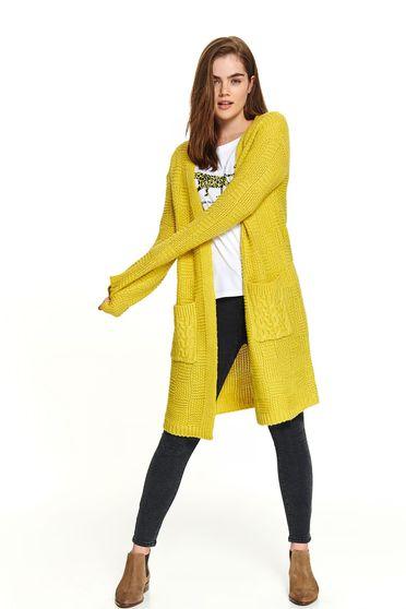 Pulover Top Secret galben casual tricotat tip cardigan cu buzunare in fata si maneci lungi