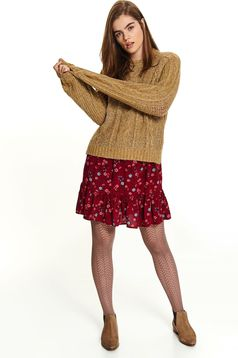 Peach sweater casual short cut flared long sleeved knitted neckline