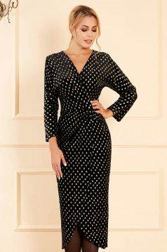StarShinerS black dress elegant midi pencil velvet dots print without clothing long sleeved wrap over skirt