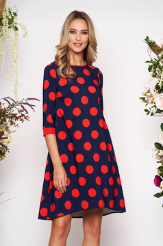 StarShinerS red daily flared dress 3/4 sleeve slightly elastic fabric dots print