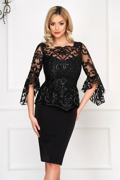 Black dress occasional midi pencil with bell sleeve with sequin embellished details cloth