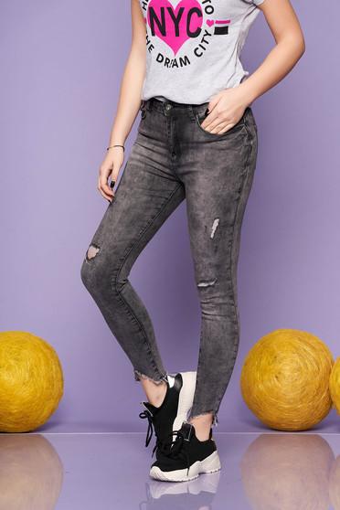 Blugi SunShine gri inchis casual skinny cu talie medie din bumbac usor elastic cu rupturi