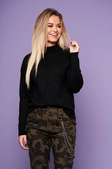 Pulover SunShine negru casual cu croi larg din material tricotat cu maneca lunga