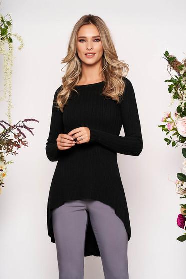 Bluza dama SunShine neagra casual asimetrica din material tricotat cu maneci lungi