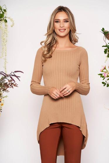 Bluza dama SunShine cappuccino casual asimetrica din material tricotat cu maneci lungi