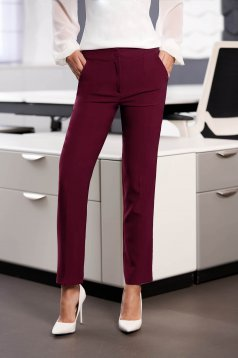 StarShinerS raspberry office trousers with pockets medium waist slightly elastic fabric with straight cut