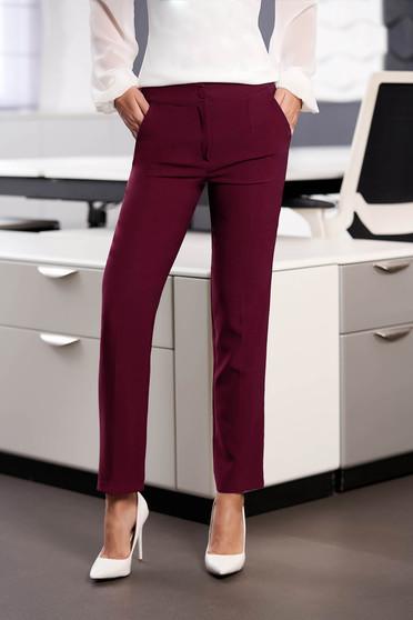 Pantaloni StarShinerS zmeura office cu un croi drept din stofa usor elastica cu talie medie si buzunare