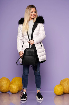 Jacket black casual with easy cut with undetachable hood with faux fur accessory is fastened around the waist with a ribbon with inside lining double-faced