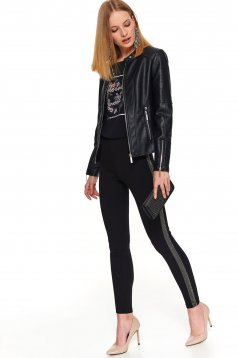 Black casual tights with medium waist from elastic fabric with crystal embellished details