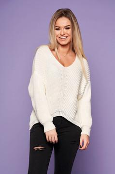Pulover SunShine alb casual din material tricotat cu croi larg cu decolteu in v