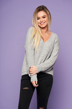 Grey casual sweater knitted fabric flared with v-neckline