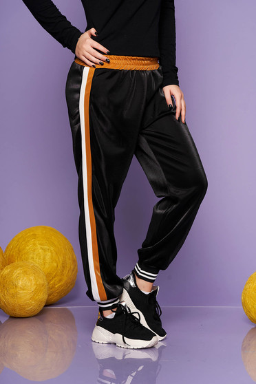 Pantaloni SunShine mustarii casual din material lucios cu elastic in talie