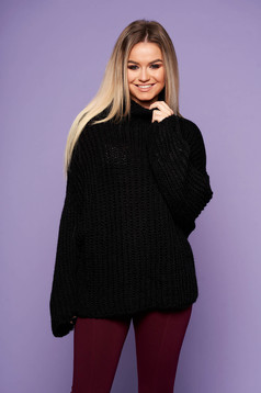 Black flared sweater knitted fabric long sleeved