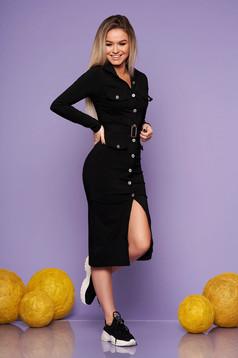 Rochie SunShine neagra de zi midi cu un croi mulat din material elastic cu accesoriu tip curea