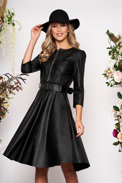 Black daily dress flaring cut ecological leather accessorized with belt