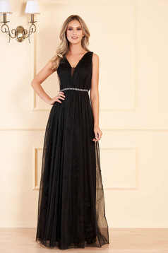 Black long occasional cloche dress from tulle with pearls with push-up cups sleeveless