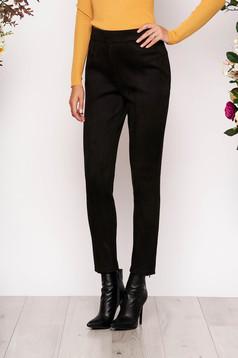 Pantaloni StarShinerS negri casual cu talie inalta din material catifelat