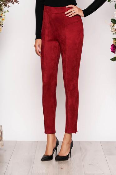 Pantaloni StarShinerS visinii casual cu talie inalta din material catifelat