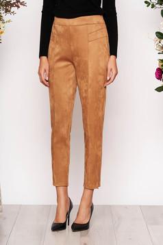 Pantaloni StarShinerS cappuccino casual cu talie inalta din material catifelat
