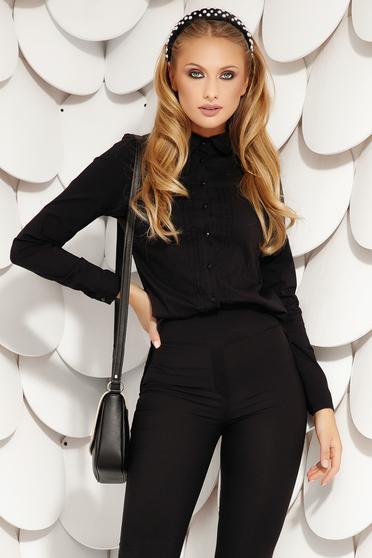 Camasa dama Fofy eleganta neagra din bumbac din material elastic cu maneci lungi broderie la spate