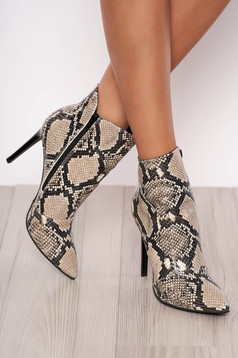 Grey ankle boots natural leather snake print slightly pointed toe tip