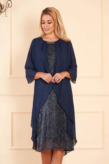 Rochie albastru-inchis eleganta de ocazie midi tip creion cu maneci scurte cu maneci din voal suprapunere cu voal