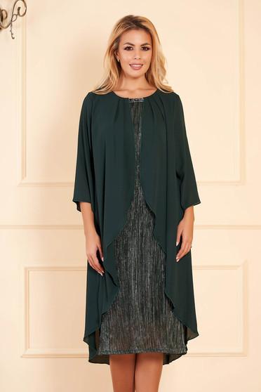 Rochie verde-inchis eleganta de ocazie midi tip creion cu maneci scurte cu maneci din voal suprapunere cu voal