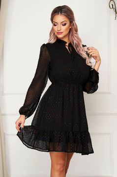 Black short clubbing dress flaring cut with elastic waist with ruffles at the buttom of the dress