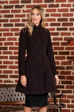 Palton Artista negru din material gros cu un croi cambrat din stofa captusit pe interior