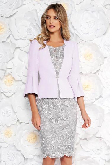 Compleu lila elegant cu rochie din 2 piese din dantela cu un croi cambrat captusit pe interior