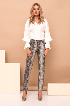 Grey casual high waisted trousers with tented cut from ecological leather with snake print