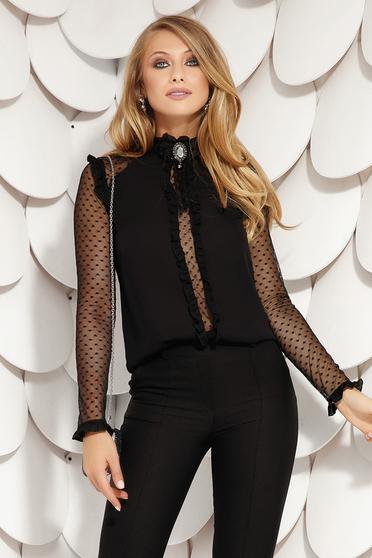 Bluza dama Fofy neagra eleganta cu croi larg din voal cu volanase si maneci transparente