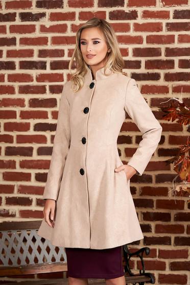 Palton Artista cappuccino elegant in clos din stofa neelastica captusit pe interior